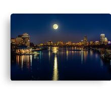 Moon Light City of Boston Canvas Print