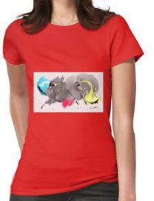 CMYK Ink Brush Fox Womens Fitted T-Shirt