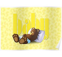 Sleeping Ted - Baby Yellow Poster