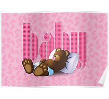 Sleeping Ted - Baby Pink Poster