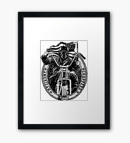 Motorcycle Chopper Stickers Framed Print