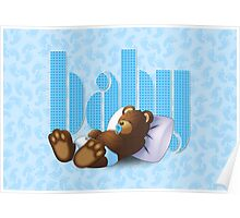 Sleeping Ted - Baby Blue Poster