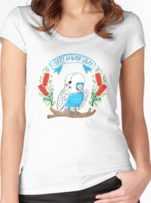Crazy Budgie Lady (with banksia flowers) Women's Fitted Scoop T-Shirt