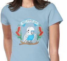 Crazy Budgie Lady (with banksia flowers) Womens Fitted T-Shirt