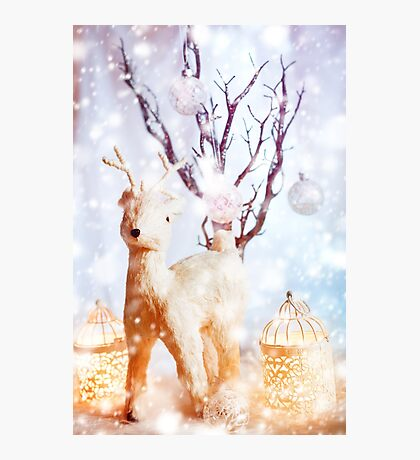 Magic Christmas Vintage Decorations with Deer Photographic Print