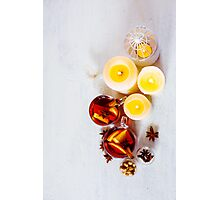 Christmas festive drink, mulled wine with spices Photographic Print