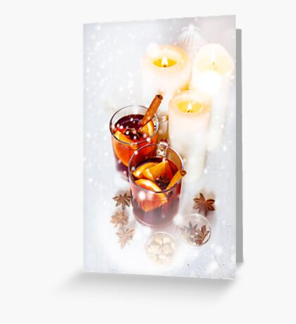 Christmas festive drink, mulled wine with spices Greeting Card