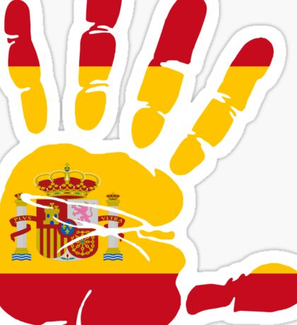 Spain flag in handprint Sticker