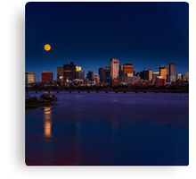 Rising super moon in Boston. Canvas Print