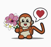 Flower Monkey Love One Piece - Short Sleeve
