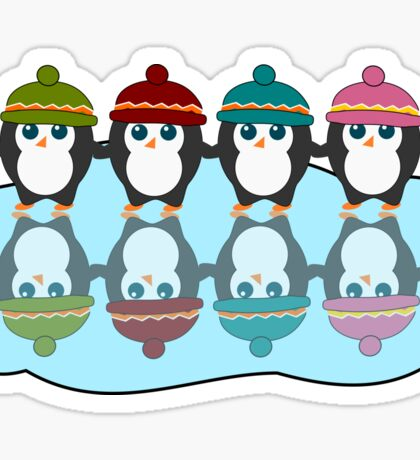 Cute  penguins with colorful little beanies Sticker