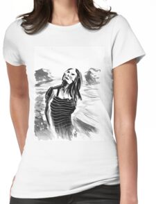 Beach Stripes Womens Fitted T-Shirt