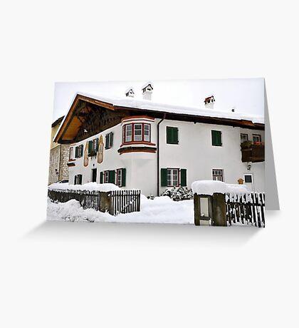 Snowy House, Telfs, Tyrol, Austria Greeting Card