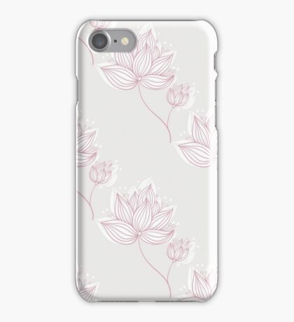 Pink Flowers On Gray iPhone Case/Skin