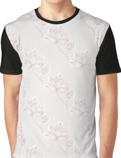 Pink Flowers On Gray Graphic T-Shirt