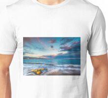 Buoys on the beach at sunset Unisex T-Shirt