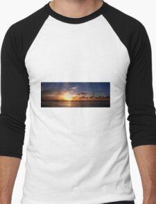 Sunset on Beach Road Panorama Men's Baseball ¾ T-Shirt
