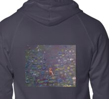 Indian Heron on Lily Pond Zipped Hoodie