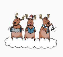 Reindeer singing Christmas carols One Piece - Short Sleeve