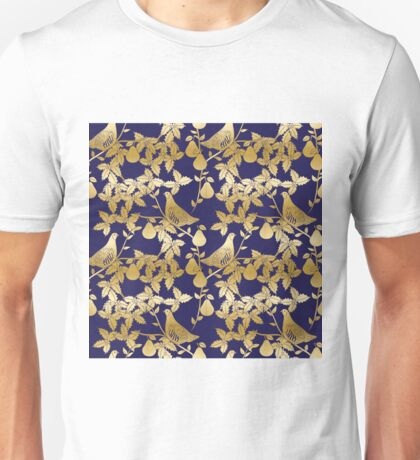 Partridge in a pear tree Christmas gold foil pattern Unisex T-Shirt