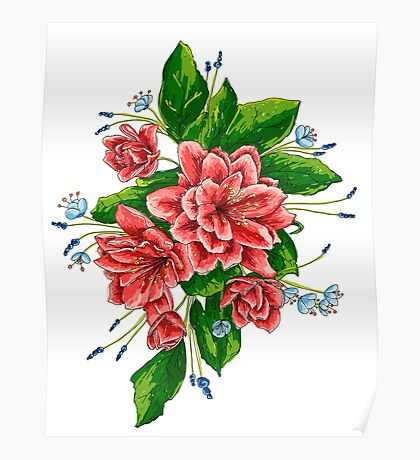 red bunch of flowers Poster