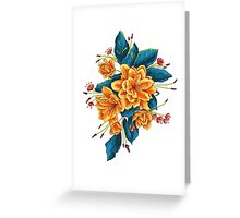 bunch of flowers with blue leaves Greeting Card