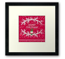 Merry christmas and happy new year greeting card wreath with cute toy bunny background Framed Print