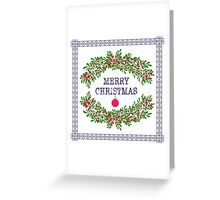 Merry christmas and happy new year greeting card wreath light white background Greeting Card