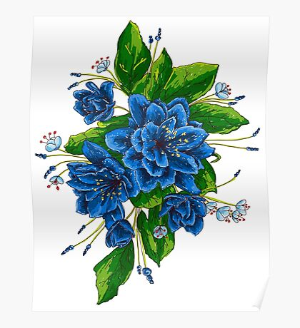 bunch of blue flowers  Poster