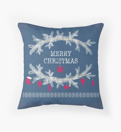 Merry christmas and happy new year greeting card wreath background Throw Pillow