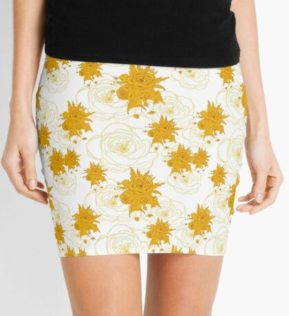 pattern with gold, yellow flowers Mini Skirt