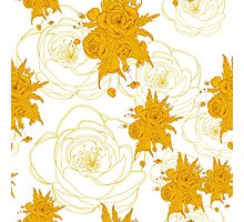pattern with gold, yellow flowers_2 Photographic Print