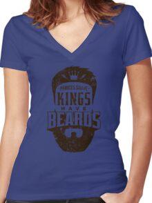 Beard - Kings Have Beards Women's Fitted V-Neck T-Shirt