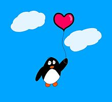 Penguin with Heart Balloon by KakidaLily