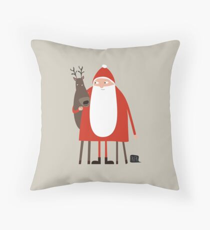 Weihnachtsmann mit Rentier Throw Pillow