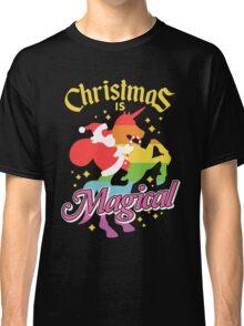 Christmas Is Magical Santa Claus Riding Unicorn Design Classic T-Shirt