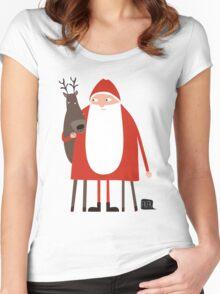Weihnachtsmann mit Rentier Women's Fitted Scoop T-Shirt