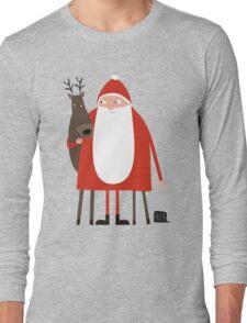 Weihnachtsmann mit Rentier Long Sleeve T-Shirt