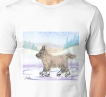 Cairn terrier dog ice skating in snowy landscape Unisex T-Shirt