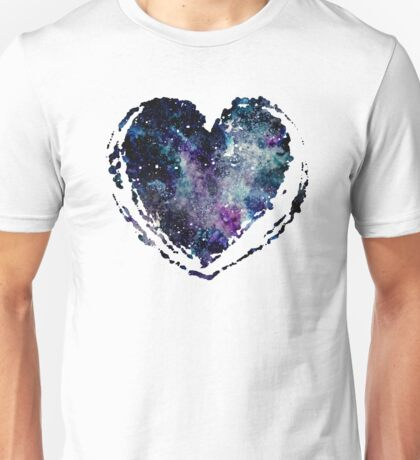 Watercolor Galaxy in Heart Unisex T-Shirt