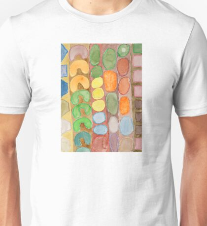 Striped Colorful Pattern with Croissants  Unisex T-Shirt