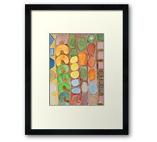 Striped Colorful Pattern with Croissants  Framed Print