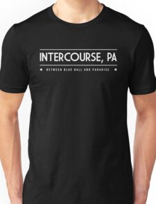 Intercourse PA Between Blue Ball and Paradise Unisex T-Shirt