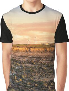 cliffs and wind farm at rocky beal beach Graphic T-Shirt