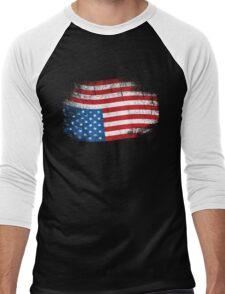 Upside Down American Flag US in Distress T-Shirt Men's Baseball ¾ T-Shirt
