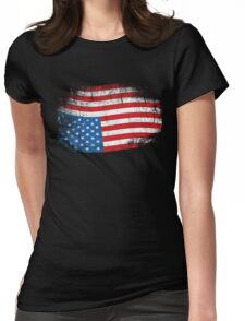 Upside Down American Flag US in Distress T-Shirt Womens Fitted T-Shirt