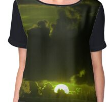 dark moody olive sunset sky Chiffon Top