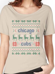 Christmas Chicago Cubs Women's Relaxed Fit T-Shirt