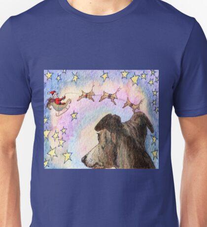 Sight-hound reindeer pulling Santa's sleigh Unisex T-Shirt