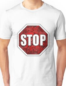 STOP Sign Octagon Bold Beveled Artistic Zen Doodle RED WHITE Unisex T-Shirt